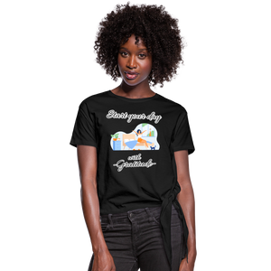 Start Your Day With Gratitude Knotted T-Shirt - black
