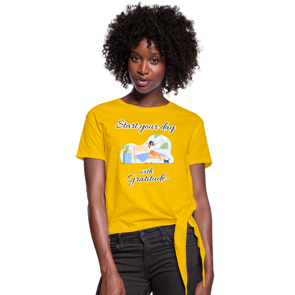 Start Your Day With Gratitude Knotted T-Shirt - sun yellow