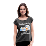 Start Your Day With Gratitude Roll Cuff T-Shirt - heather black