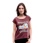 Start Your Day With Gratitude Roll Cuff T-Shirt - heather burgundy