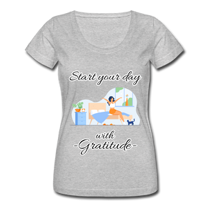 Start Your Day With Gratitude Scoop Neck T-Shirt - heather gray
