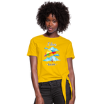 I Love Rain Knotted T-Shirt - sun yellow