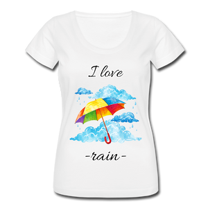 I Love Rain Scoop Neck T-Shirt - white