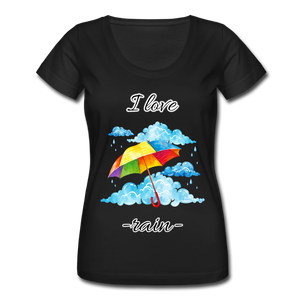 I Love Rain Scoop Neck T-Shirt - black
