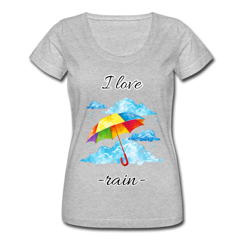 I Love Rain Scoop Neck T-Shirt - heather gray