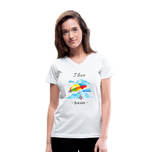 I Love Rain V-Neck T-Shirt - white