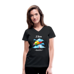 I Love Rain V-Neck T-Shirt - black