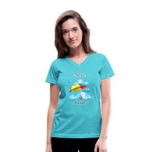 I Love Rain V-Neck T-Shirt - aqua