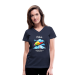I Love Rain V-Neck T-Shirt - navy