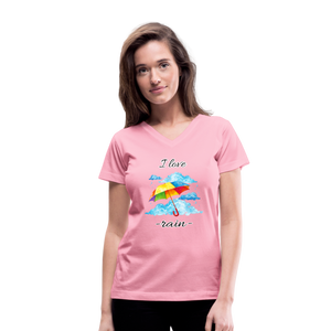 I Love Rain V-Neck T-Shirt - pink