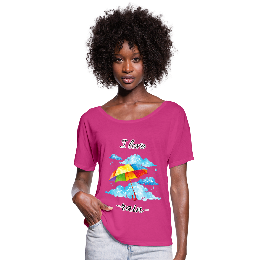 I Love Rain Flowy T-Shirt - dark pink
