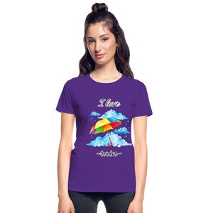 I Love Rain Ultra Cotton Ladies T-Shirt - purple