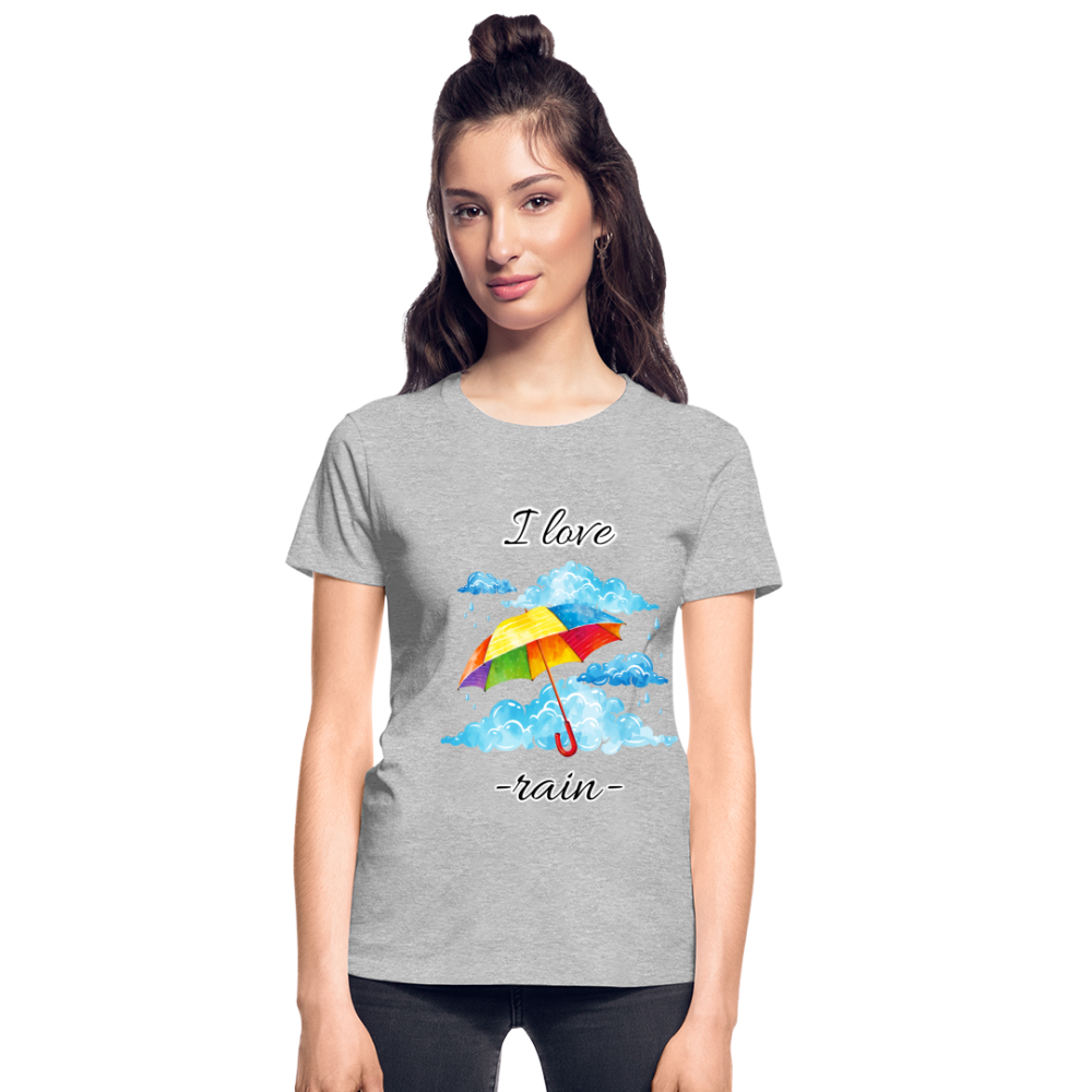 I Love Rain Ultra Cotton Ladies T-Shirt - heather gray