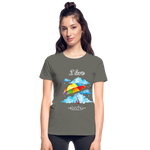 I Love Rain Ultra Cotton Ladies T-Shirt - charcoal