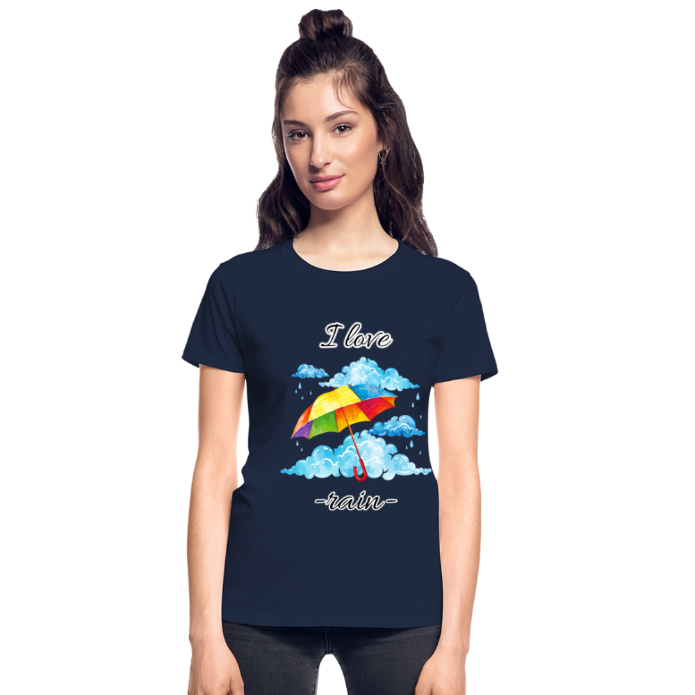 I Love Rain Ultra Cotton Ladies T-Shirt - navy