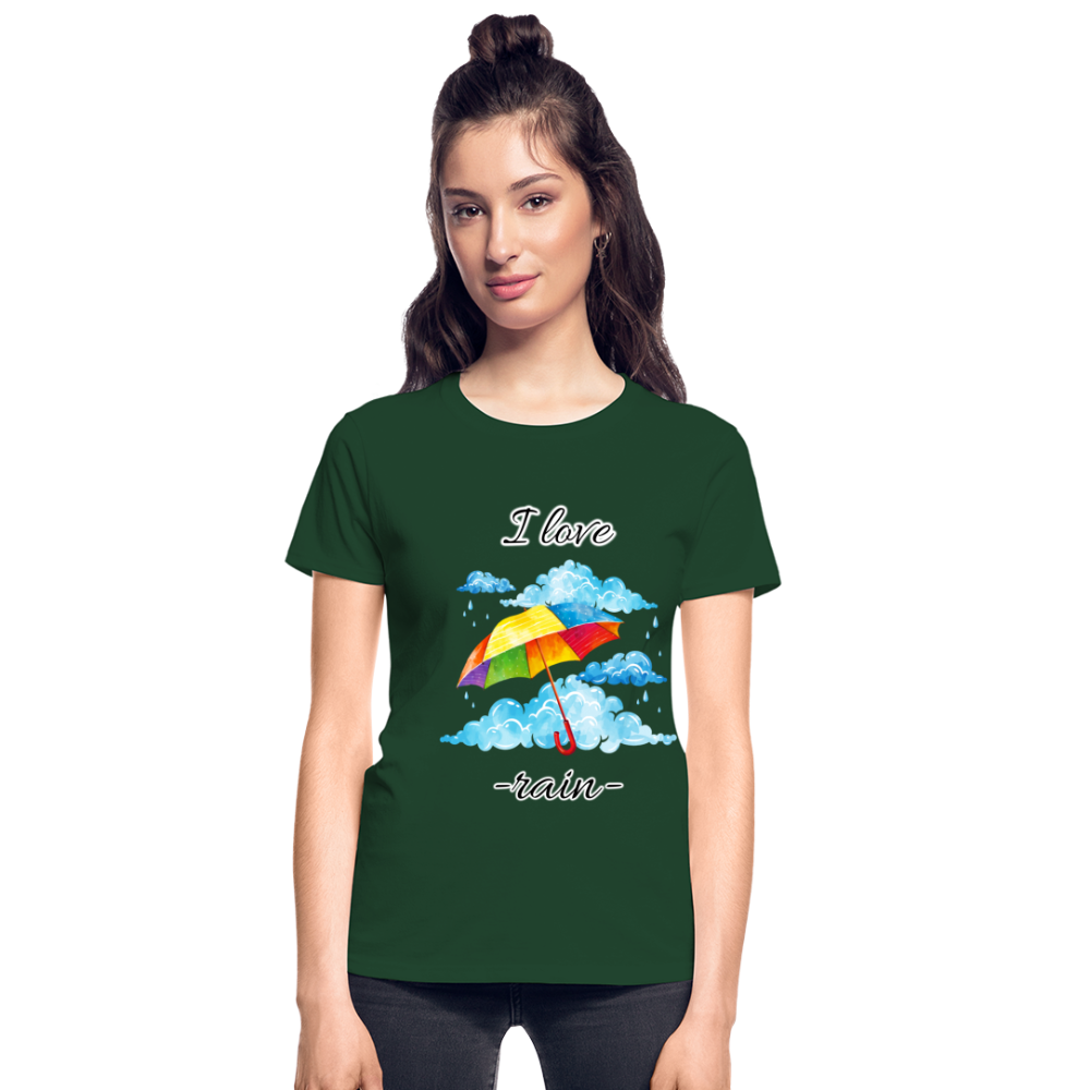 I Love Rain Ultra Cotton Ladies T-Shirt - forest green