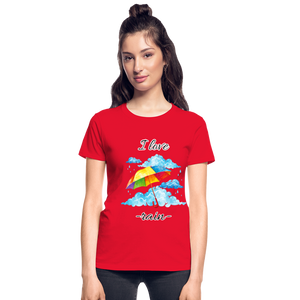 I Love Rain Ultra Cotton Ladies T-Shirt - red