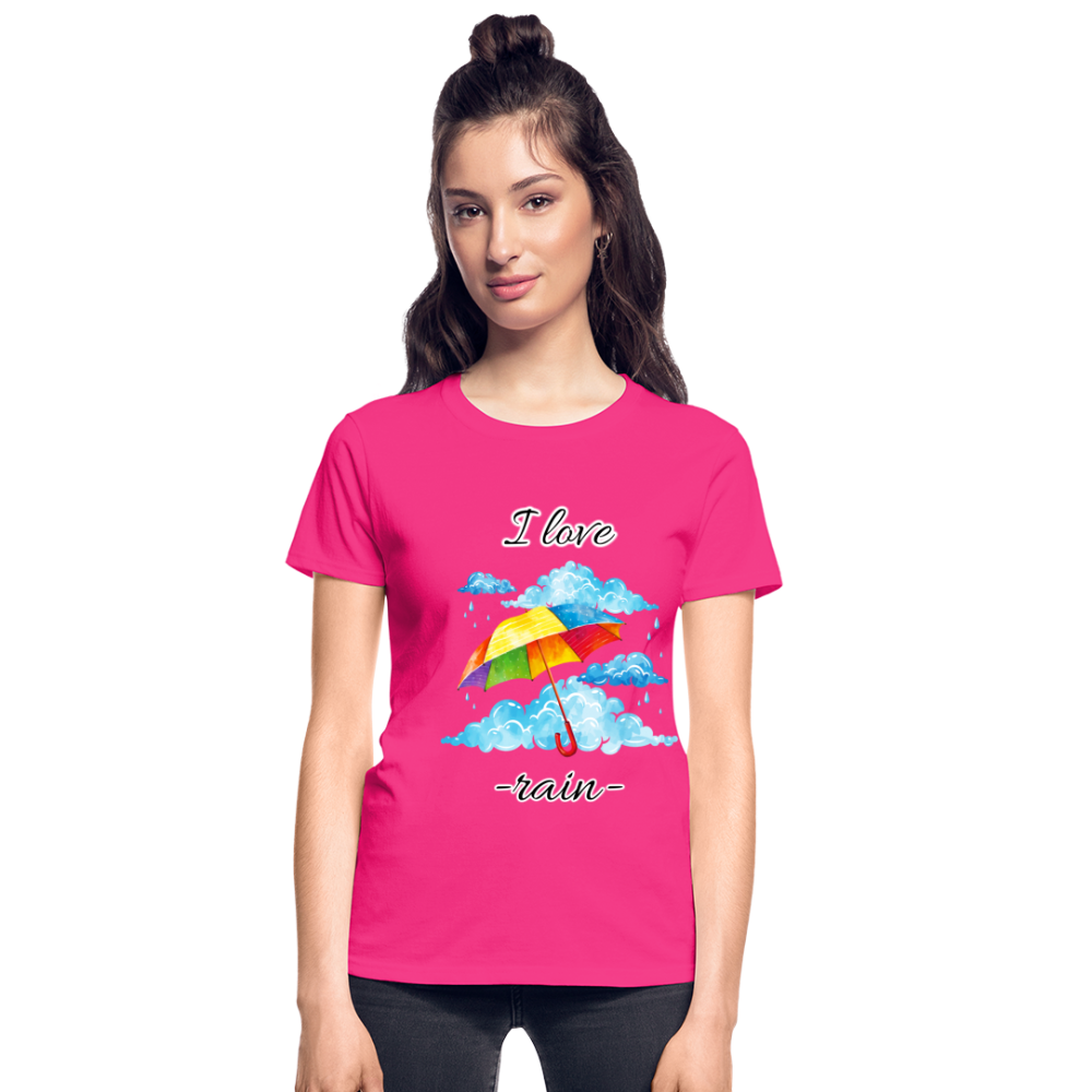 I Love Rain Ultra Cotton Ladies T-Shirt - fuchsia