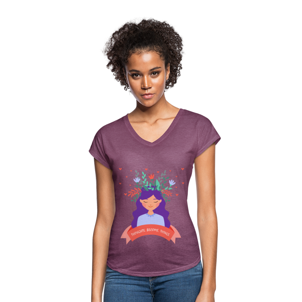 Thoughts Become Things Tri-Blend V-Neck T-Shirt - heather plum