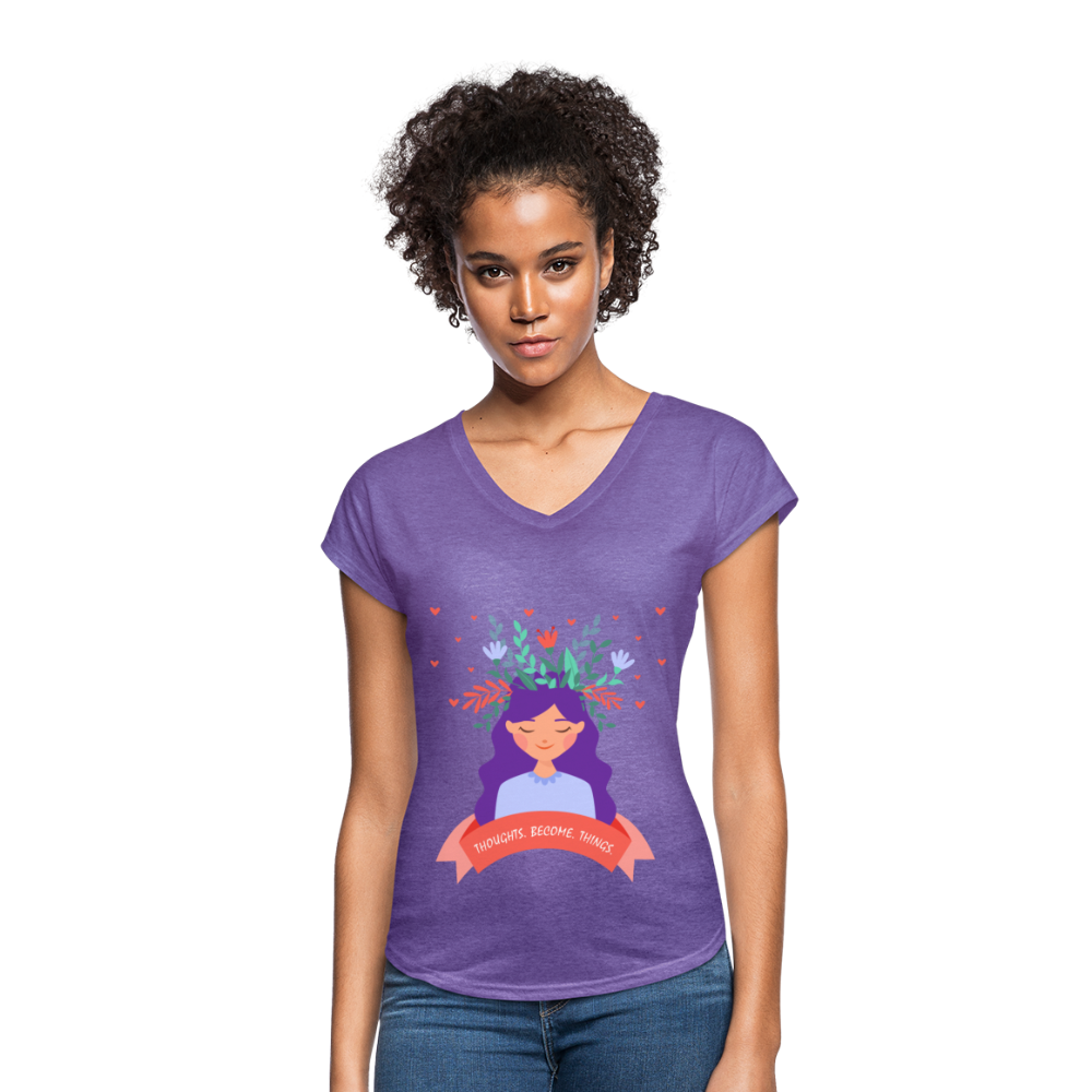 Thoughts Become Things Tri-Blend V-Neck T-Shirt - purple heather