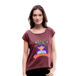 Thoughts Become Things Roll Cuff T-Shirt - heather burgundy