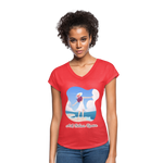 Ask Believe Receive Tri-Blend V-Neck T-Shirt - heather red