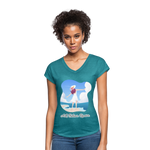 Ask Believe Receive Tri-Blend V-Neck T-Shirt - heather turquoise
