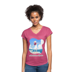 Ask Believe Receive Tri-Blend V-Neck T-Shirt - heather raspberry
