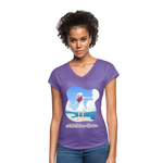 Ask Believe Receive Tri-Blend V-Neck T-Shirt - purple heather