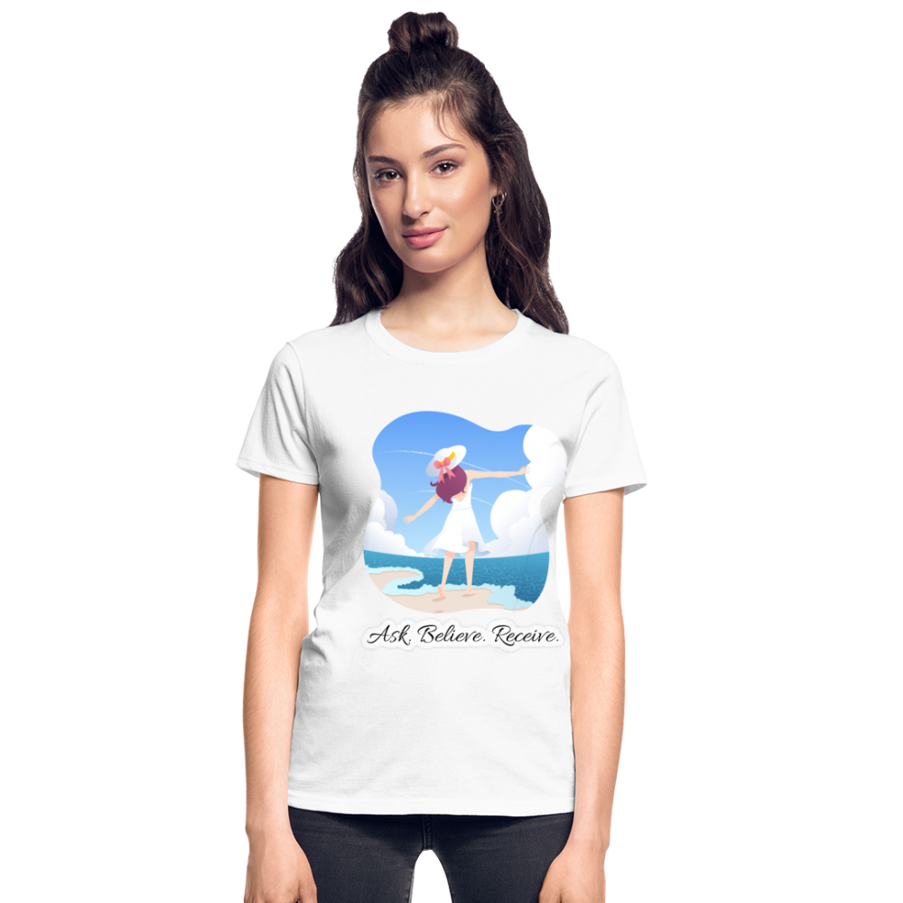 Ask Believe Receive Ultra Cotton Ladies T-Shirt - white
