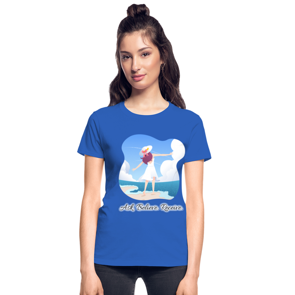 Ask Believe Receive Ultra Cotton Ladies T-Shirt - royal blue