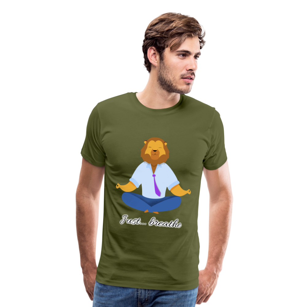Meditation Lion Premium T-Shirt - olive green