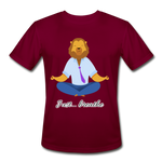 Meditation Lion Moisture Wicking Performance T-Shirt - burgundy