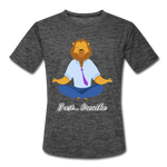 Meditation Lion Moisture Wicking Performance T-Shirt - dark heather gray
