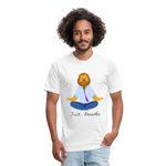 Meditation Lion Fitted Cotton/Poly T-Shirt - white