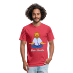 Meditation Lion Fitted Cotton/Poly T-Shirt - heather red