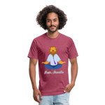 Meditation Lion Fitted Cotton/Poly T-Shirt - heather burgundy