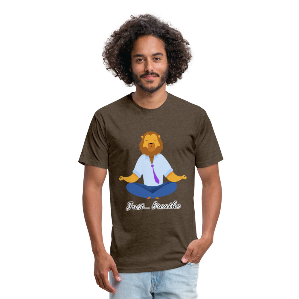 Meditation Lion Fitted Cotton/Poly T-Shirt - heather espresso