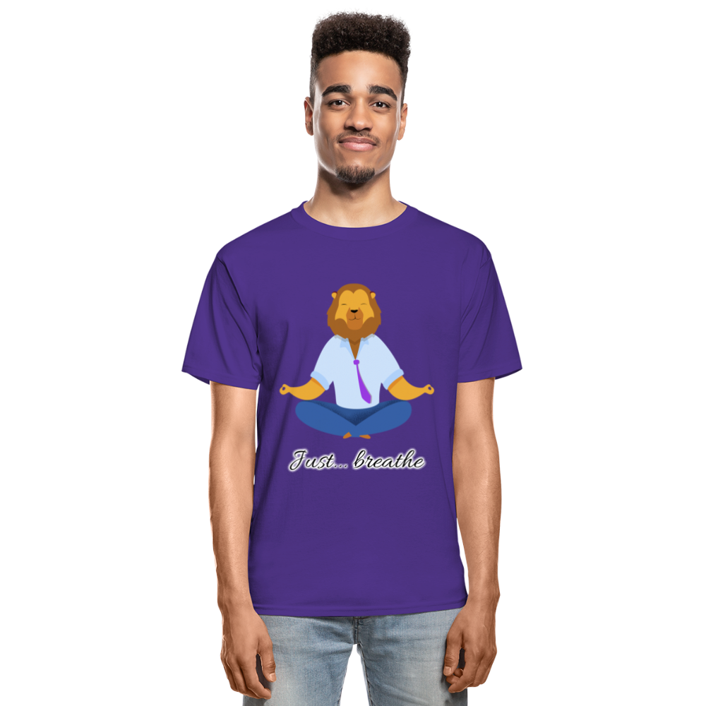 Meditation Lion Tagless T-Shirt - purple