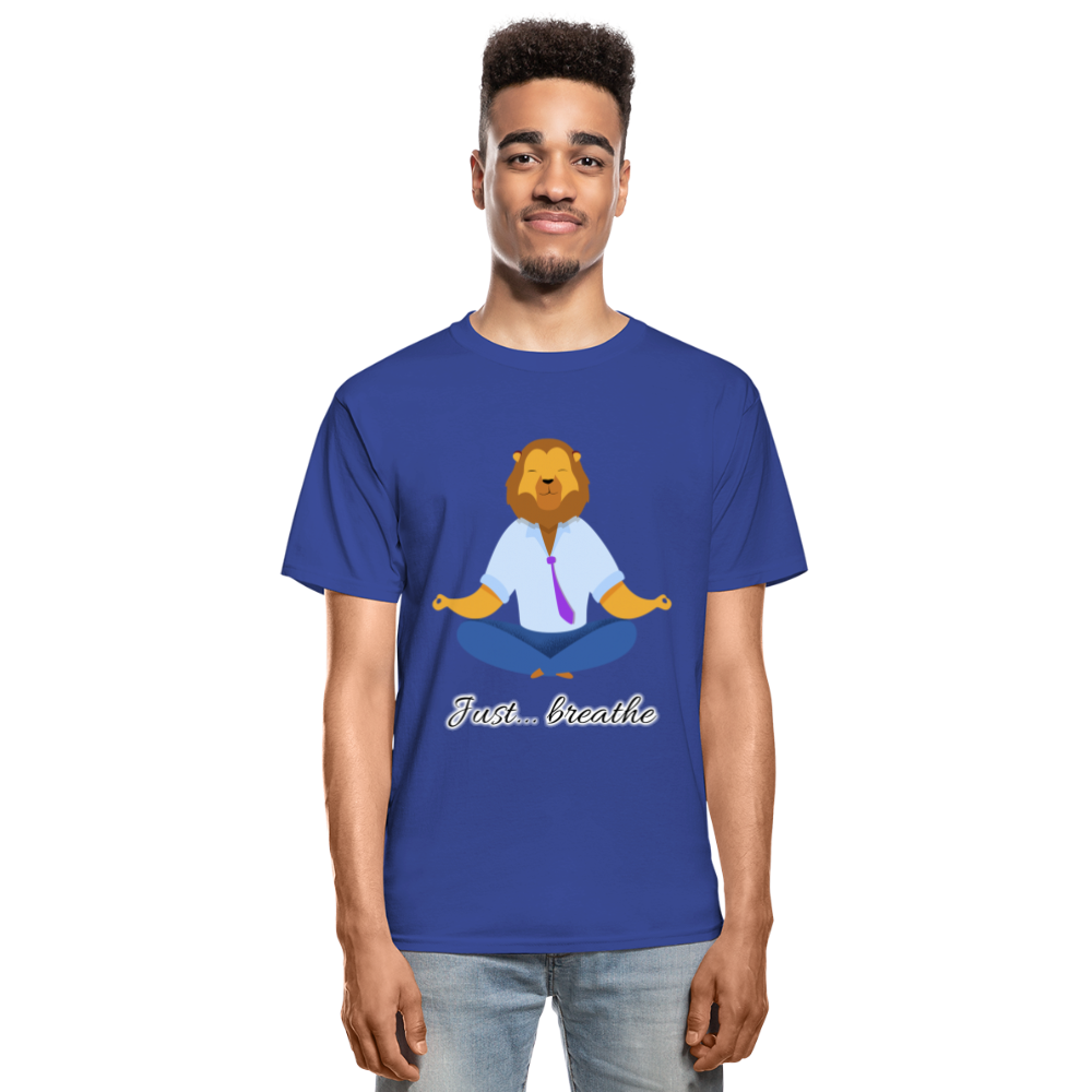 Meditation Lion Tagless T-Shirt - royal blue