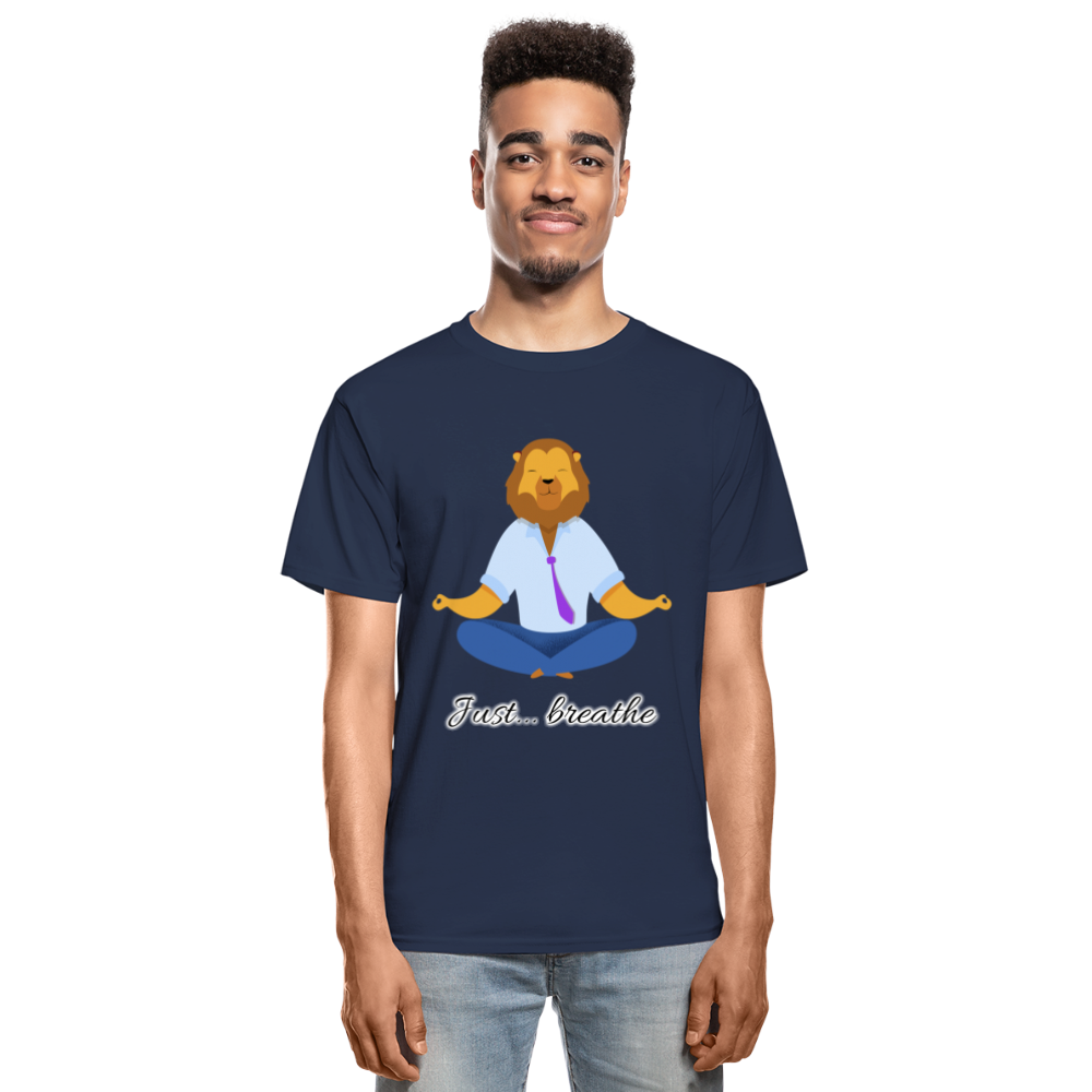 Meditation Lion Tagless T-Shirt - navy