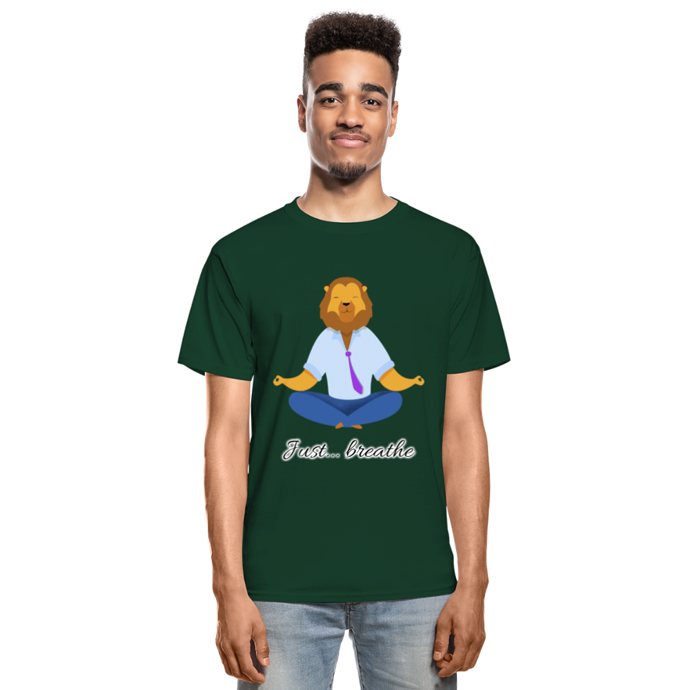 Meditation Lion Tagless T-Shirt - forest green