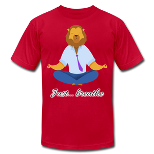 Meditation Lion Jersey T-Shirt - red