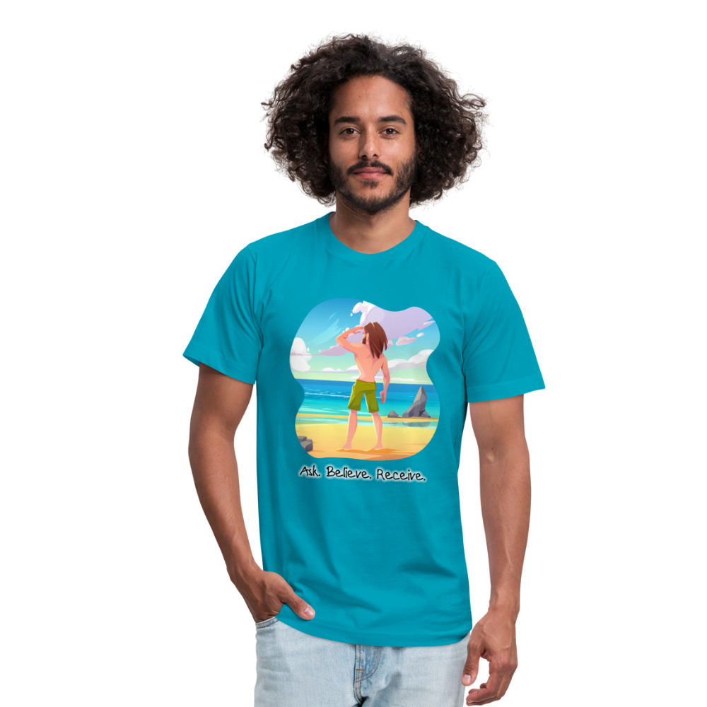 Ask Believe Receive Jersey T-Shirt - turquoise