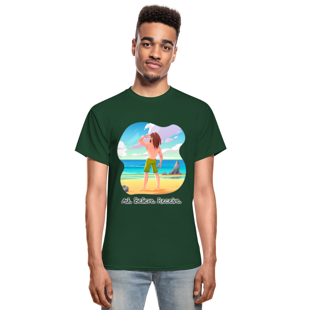 Ask Believe Receive Ultra Cotton T-Shirt - forest green