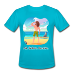 Ask Believe Receive Moisture Wicking Performance T-Shirt - turquoise