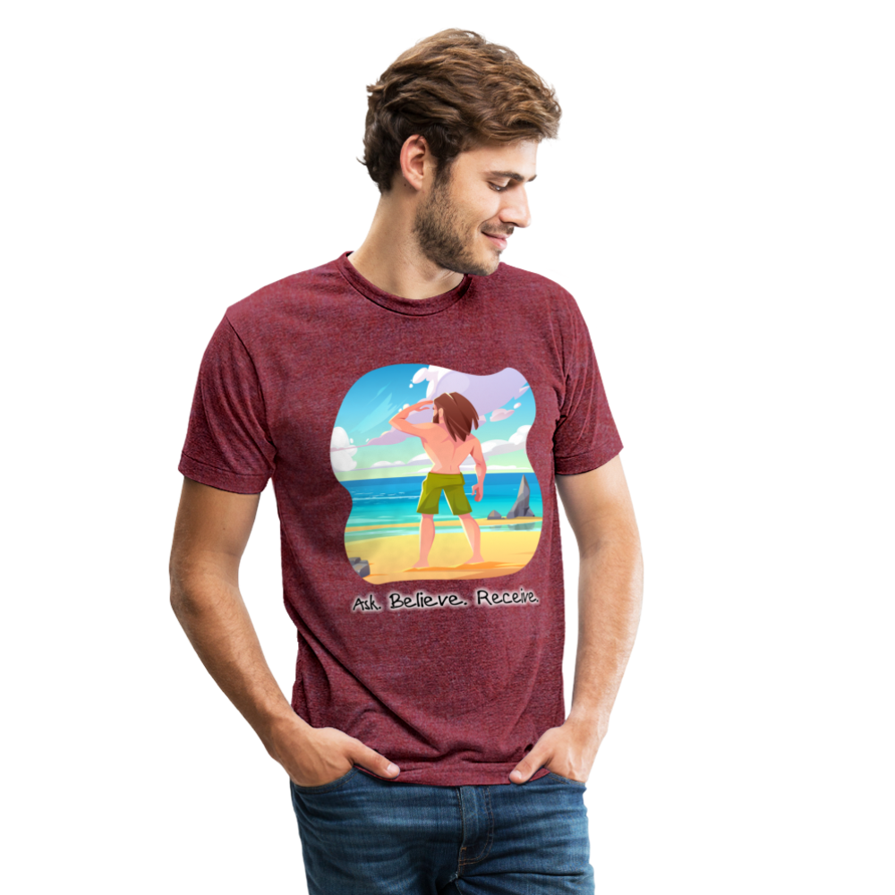 Ask Believe Receive Tri-Blend T-Shirt - heather cranberry
