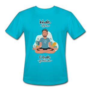 Inhale Love Exhale Gratitude Moisture Wicking Performance T-Shirt - turquoise