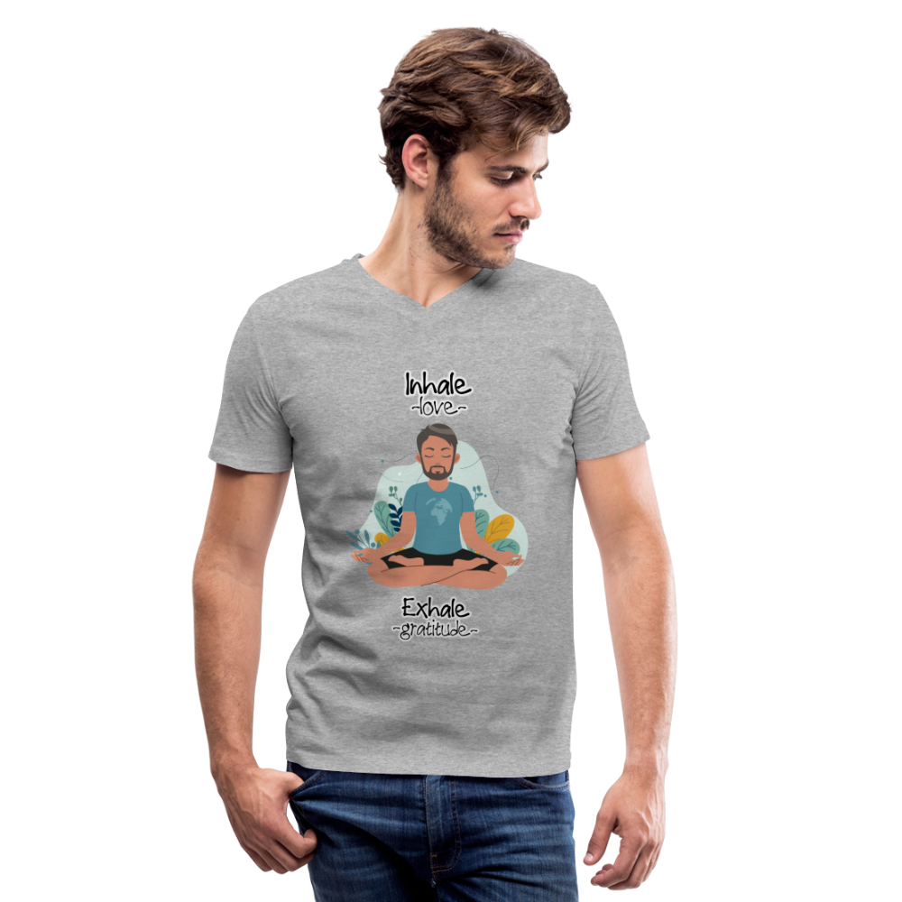 Inhale Love Exhale Gratitude V-Neck T-Shirt - heather gray