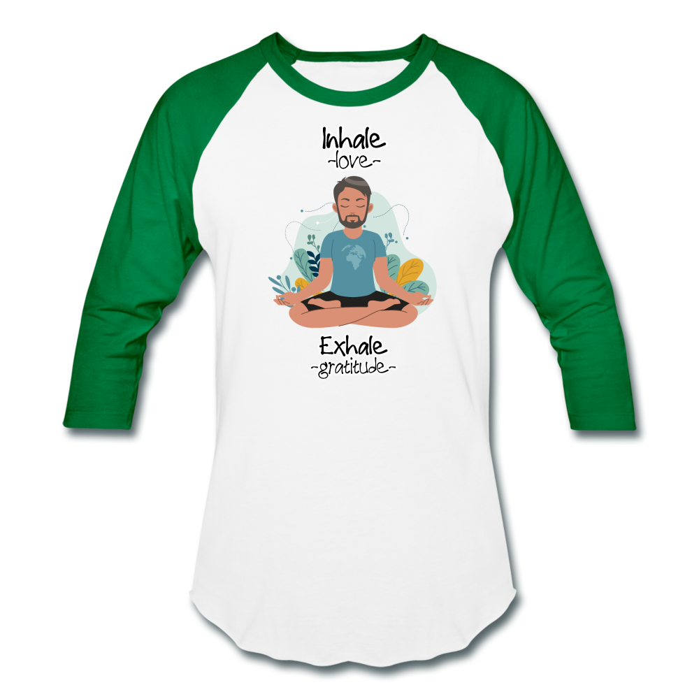Inhale Love Exhale Gratitude Baseball T-Shirt - white/kelly green